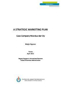 A STRATEGIC MARKETING PLAN