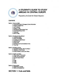 A STUDENT S GUIDE TO STUDY ABROAD IN CENTRAL EUROPE