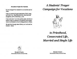 A Students Prayer Campaign for Vocations. to Priesthood, Consecrated Life, Married and Single Life. Vocation Prayer for Parents
