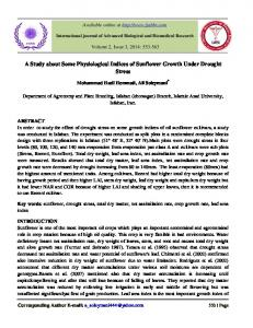 A Study about Some Physiological Indices of Sunflower Growth Under Drought Stress