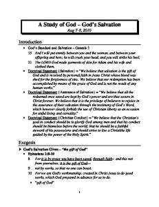A Study of God God s Salvation Aug 7-8, 2010