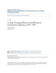 A study of song problems of small business investment companies,