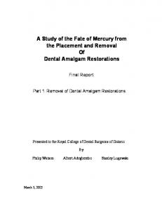 A Study of the Fate of Mercury from the Placement and Removal Of Dental Amalgam Restorations