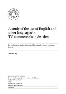 A study of the use of English and other languages in TV-commercials in Sweden