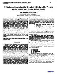 A Study on Analyzing the Trend of NPA Level in Private Sector Banks and Public Sector Banks