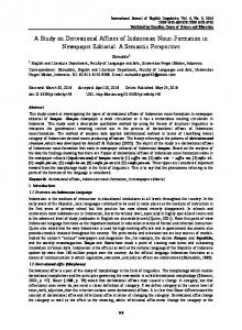A Study on Derivational Affixes of Indonesian Noun-Formation in Newspaper Editorial: A Semantic Perspective