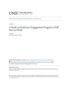 A Study on Employee Engagement Program in Full Service Hotel