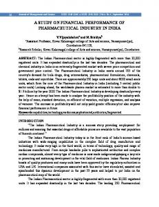 A STUDY ON FINANCIAL PERFORMANCE OF PHARMACEUTICAL INDUSTRY IN INDIA