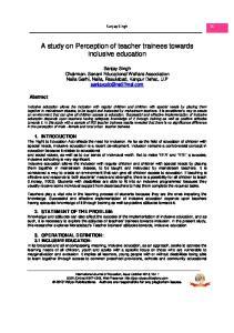 A study on Perception of teacher trainees inclusive education