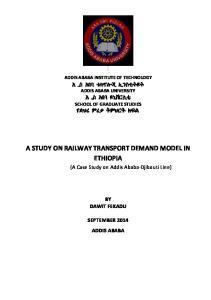 A STUDY ON RAILWAY TRANSPORT DEMAND MODEL IN ETHIOPIA