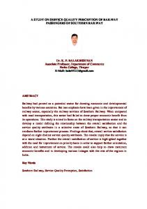 A STUDY ON SERVICE QUALITY PERCEPTION OF RAILWAY PASSENGERS OF SOUTHERN RAILWAY