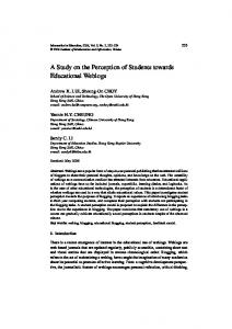 A Study on the Perception of Students towards Educational Weblogs