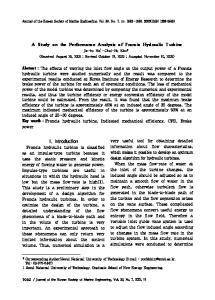A Study on the Performance Analysis of Francis Hydraulic Turbine