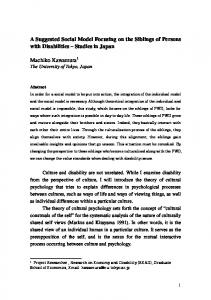 A Suggested Social Model Focusing on the Siblings of Persons with Disabilities Studies in Japan