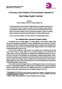 A Summary About Practice of Communicative Approach in Real College English Teaching