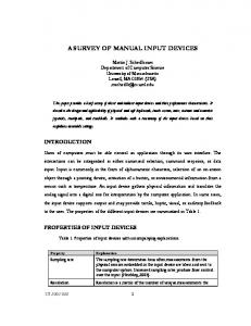 A SURVEY OF MANUAL INPUT DEVICES