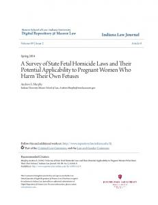 A Survey of State Fetal Homicide Laws and Their Potential Applicability to Pregnant Women Who Harm Their Own Fetuses