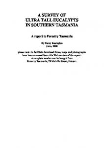 A SURVEY OF ULTRA TALL EUCALYPTS IN SOUTHERN TASMANIA