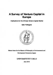 A Survey of Venture Capital in Europe