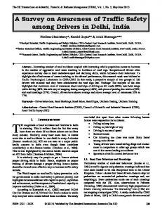 A Survey on Awareness of Traffic Safety among Drivers in Delhi, India