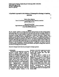 A Synthetic Approach to the Infusion of Metacognitive Strategy in teaching grammar