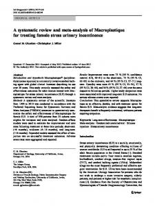 A systematic review and meta-analysis of Macroplastique for treating female stress urinary incontinence