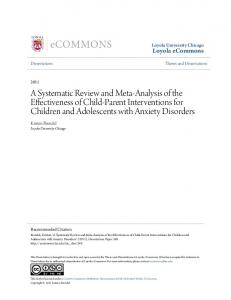 A Systematic Review and Meta-Analysis of the Effectiveness of Child-Parent Interventions for Children and Adolescents with Anxiety Disorders