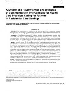 A Systematic Review of the Effectiveness of Communication Interventions for Health Care Providers Caring for Patients in Residential Care Settings