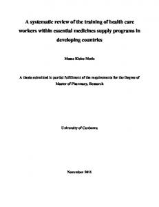 A systematic review of the training of health care workers within essential medicines supply programs in developing countries