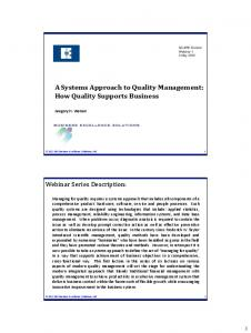 A Systems Approach to Quality Management: How Quality Supports Business