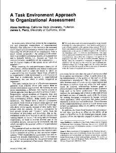 A Task Environment Approach to Organizational Assessment