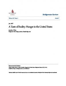 A Taste of Reality: Hunger in the United States