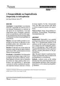 A Temporalidade na Esquizofrenia Temporality in Schizophrenia