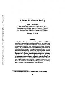 A Tempt To Measure Reality