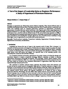 A Test of the Impact of Leadership Styles on Employee Performance: A Study of Department of Petroleum Resources