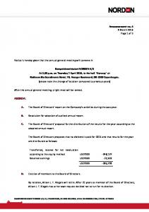 A. The Board of Directors' report on the Company's activities during the past year