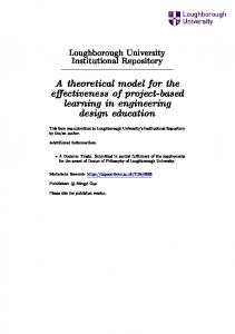 A theoretical model for the eectiveness of project-based learning in engineering design education