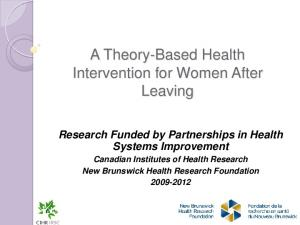 A Theory-Based Health Intervention for Women After Leaving