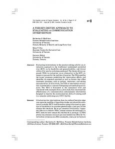 A THEORY-DRIVEN APPROACH TO EVALUATING A COMMUNICATION INTERVENTION