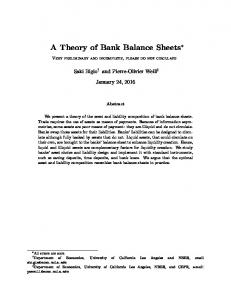 A Theory of Bank Balance Sheets