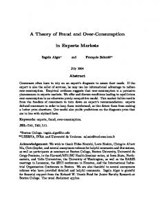 A Theory of Fraud and Over-Consumption. in Experts Markets