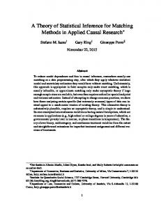 A Theory of Statistical Inference for Matching Methods in Applied Causal Research