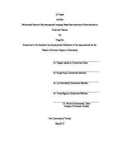 A Thesis. entitled. Cells and Tissues. Yang Xu. Master of Science Degree in Chemistry