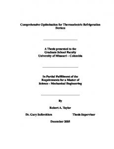 A Thesis presented to the Graduate School Faculty University of Missouri Columbia