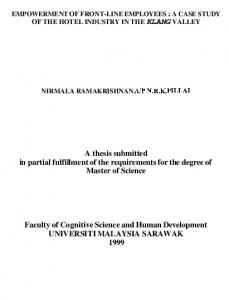A thesis submitted in partial fulfillment of the requirements for the degree of Master of Science