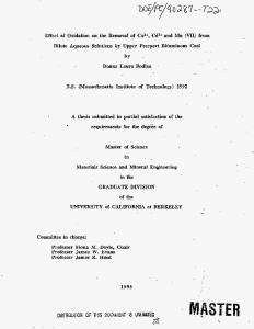 A thesis submitted in partial satisfaction of the