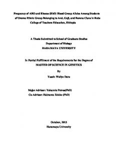 A Thesis Submitted to School of Graduate Studies Department of Biology HARAMAYA UNIVERSITY