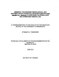 A THESIS SUBMITTED TO THE FACULTY OF THE GRADUATE SCHOOL OF THE UNIVERSITY OF MINNESOTA BY MAX C.A. TORBENSON