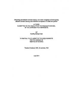A THESIS SUBMITTED TO THE FACULTY OF THE GRADUATE SCHOOL OF THE UNIVERSITY OF MINNESOTA. BY Geoffrey Nathan Sudit