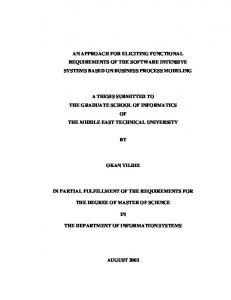 A THESIS SUBMITTED TO THE GRADUATE SCHOOL OF INFORMATICS OF THE MIDDLE EAST TECHNICAL UNIVERSITY OKAN YILDIZ